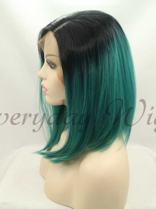 14 Black Green Ombre Bob Style Synthetic Lace Front Wig