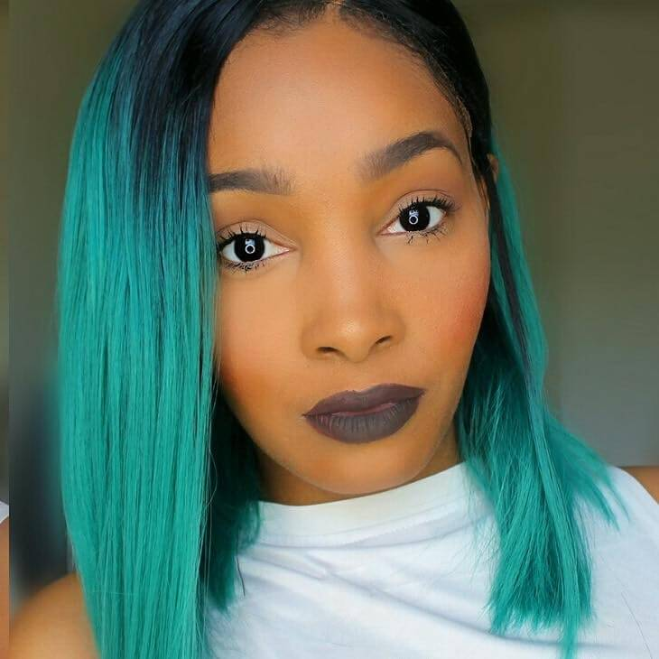 "14"" Black/Green Ombre Color Straight Bob Style Synthetic Lace Front Wig-edw1090"