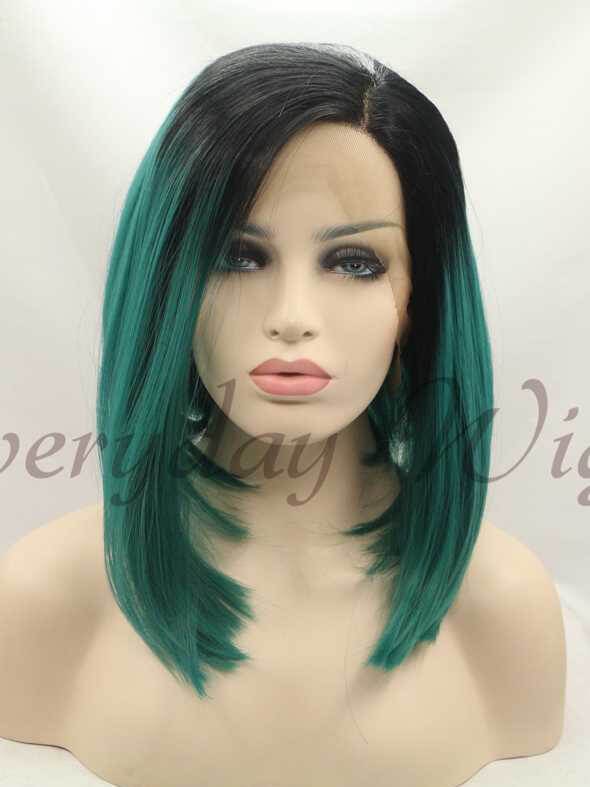"14"" Black/Green Ombre Bob Style Synthetic Lace Front Wig-edw1090"