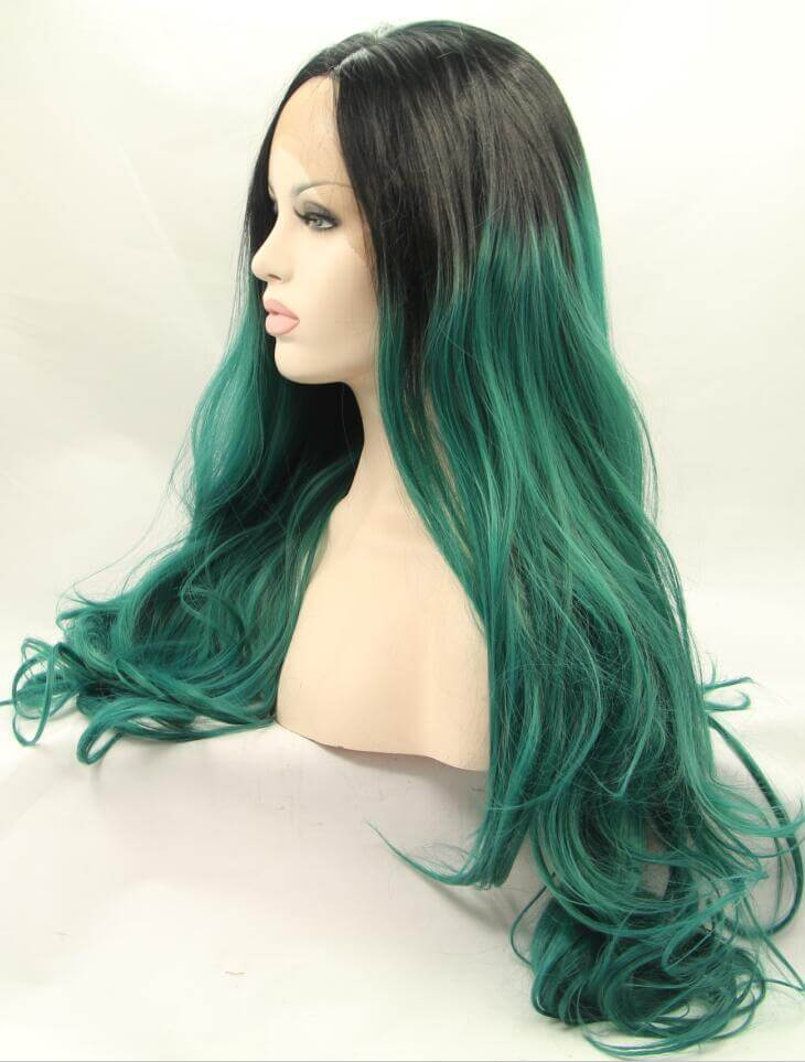 "26"" Black/Green Ombre Color Wavy Synthetic Lace Front Wig-edw1091"