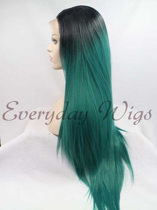 26 Blackgreen Ombre Color Straight Synthetic Lace Front Wig Edw1092