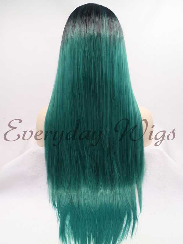 "24"" Black/Green Ombre Color Straight Synthetic Lace Front Wig-edw1092"