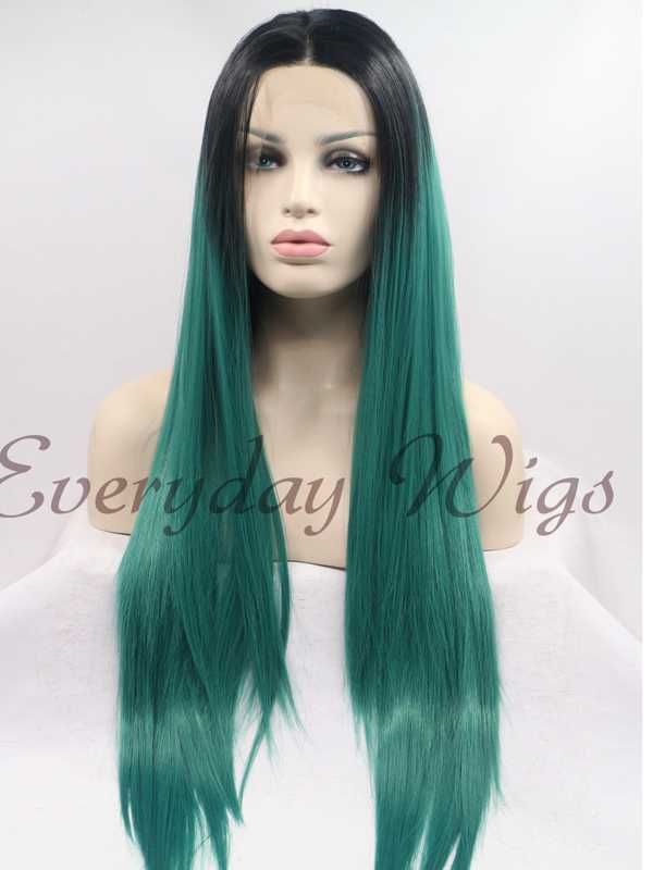 "26"" Black/Green Ombre Color Straight Synthetic Lace Front Wig-edw1092"