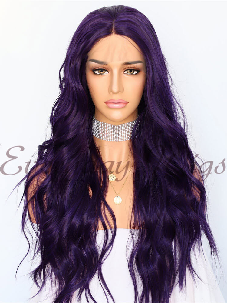 24 Inch Purple Wavy Synthetic Lace Front Wig-edw1094