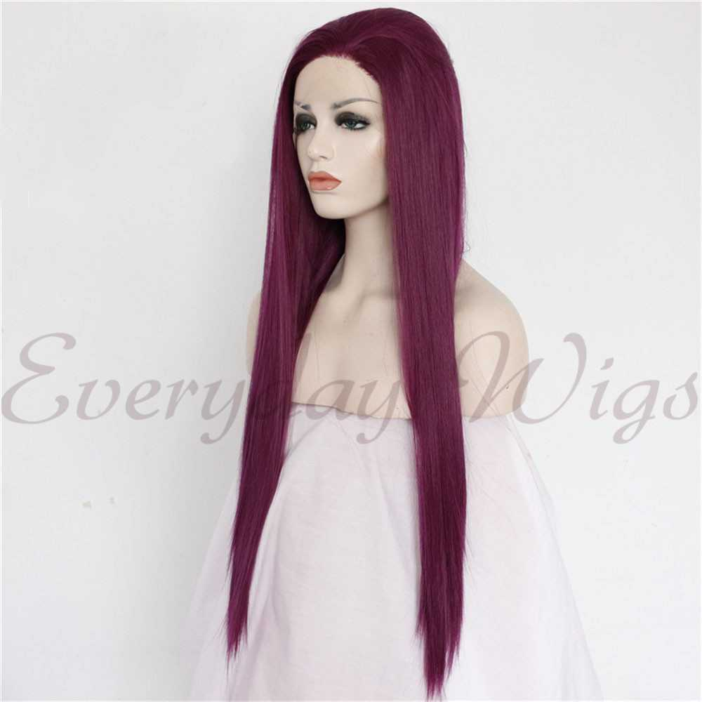 "24"" Wine Straight Synthetic Lace Front Wig-edw1096"