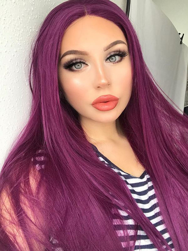 "24"" Purple Straight Synthetic Lace Front Wig-edw1096"