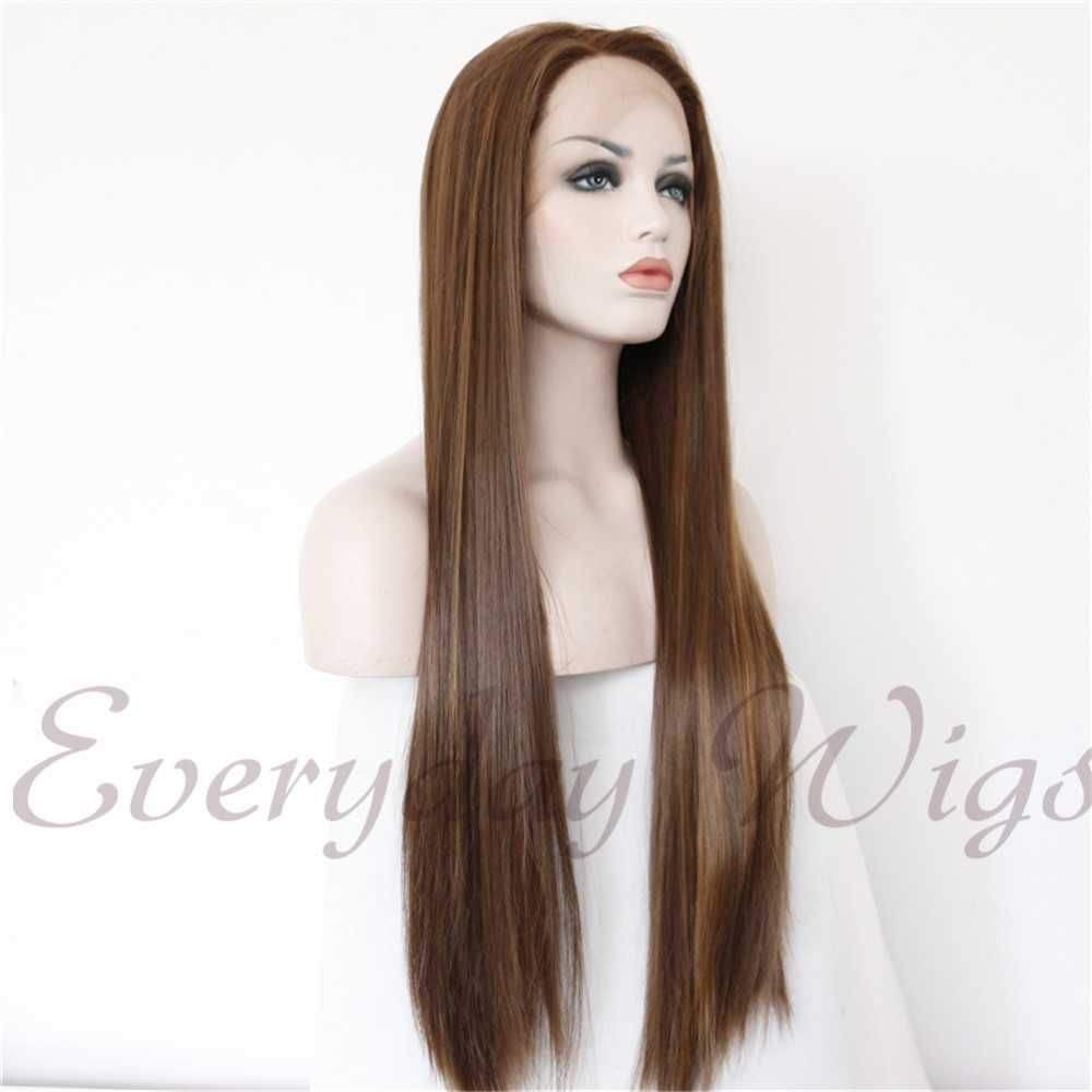 "24"" Dark Brown Synthetic Lace Front Wigs-edw1097"