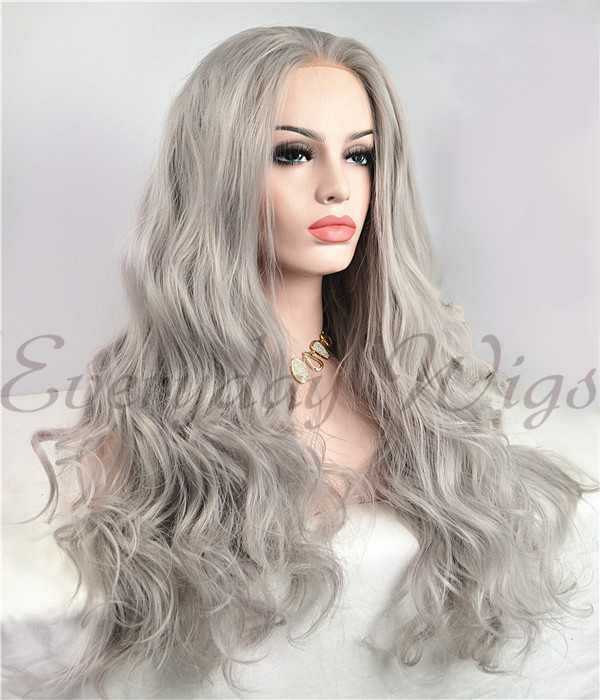 "24"" Grey Water Weave Synthetic Lace Front Wig-edw1098"