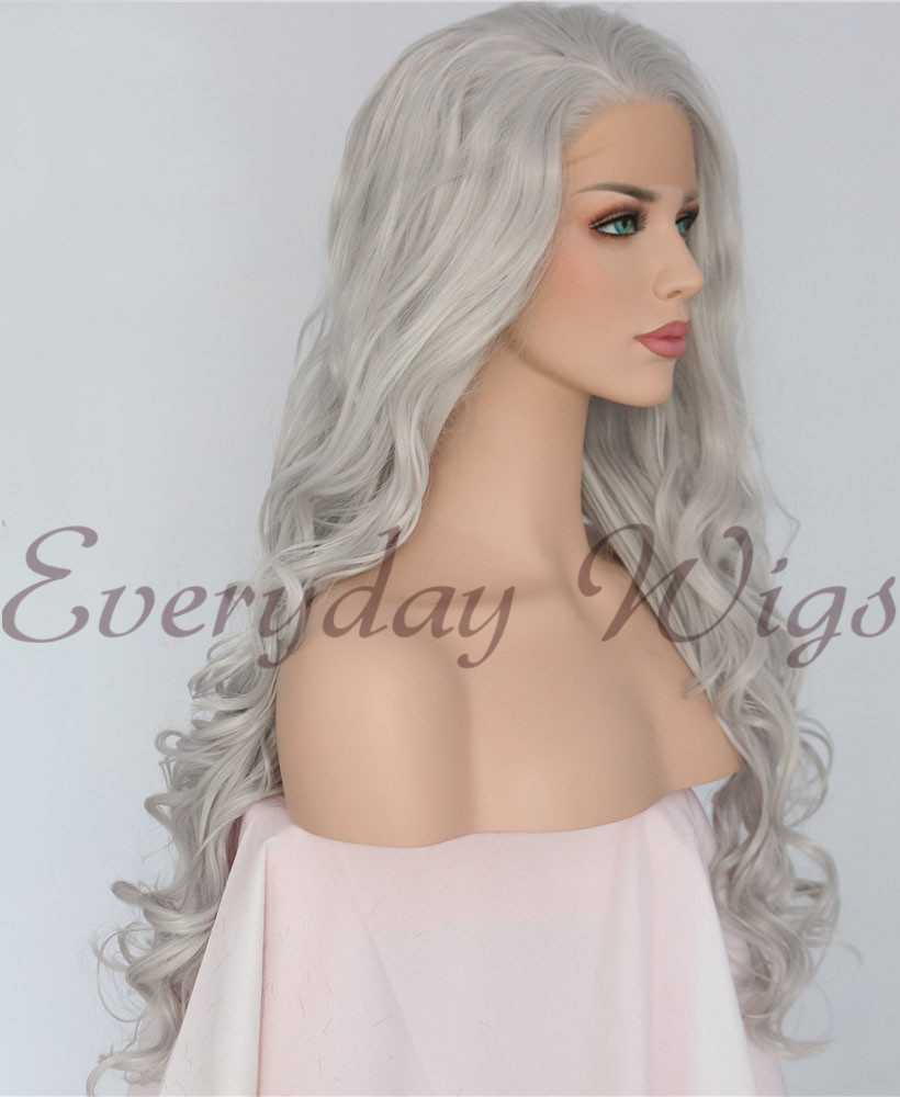 "24"" Silver Grey Synthetic Lace Front Wigs -edw1099"