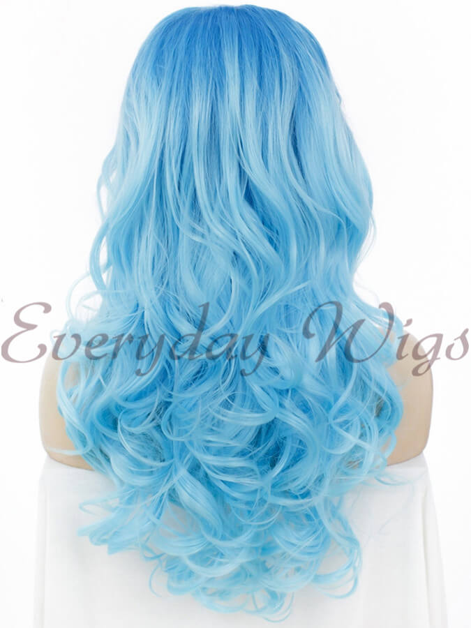 "24"" Ombre Blue Long Wavy Synthetic Lace Front Wig - edw109"