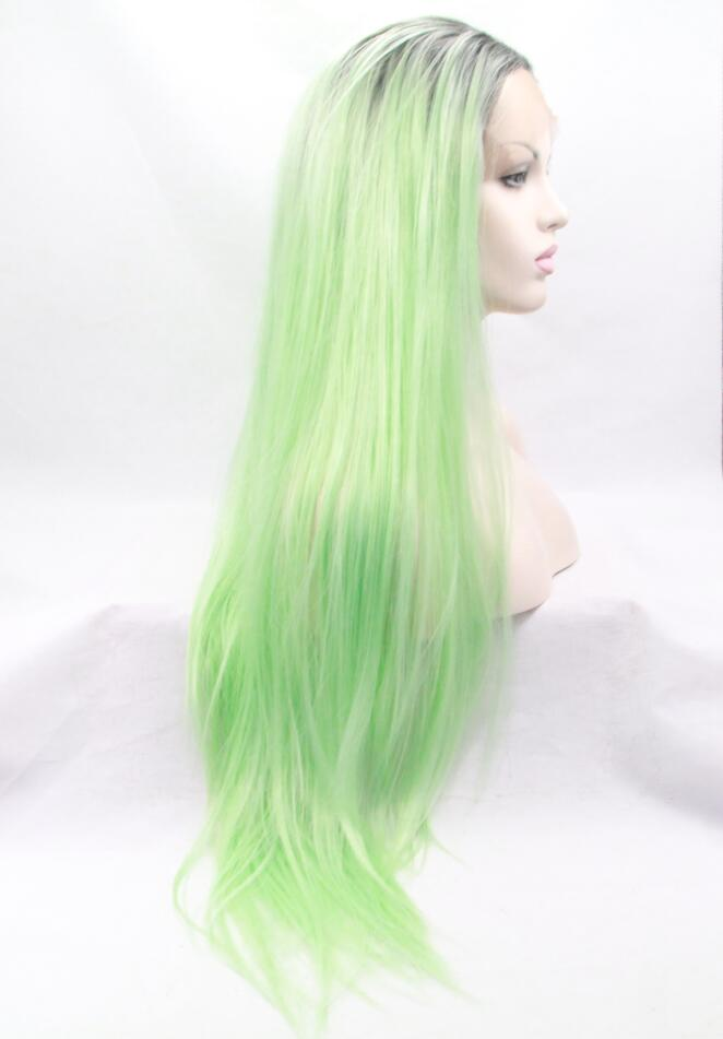Mint Green Ombre Straight Synthetic Lace Front Wig-edw1100