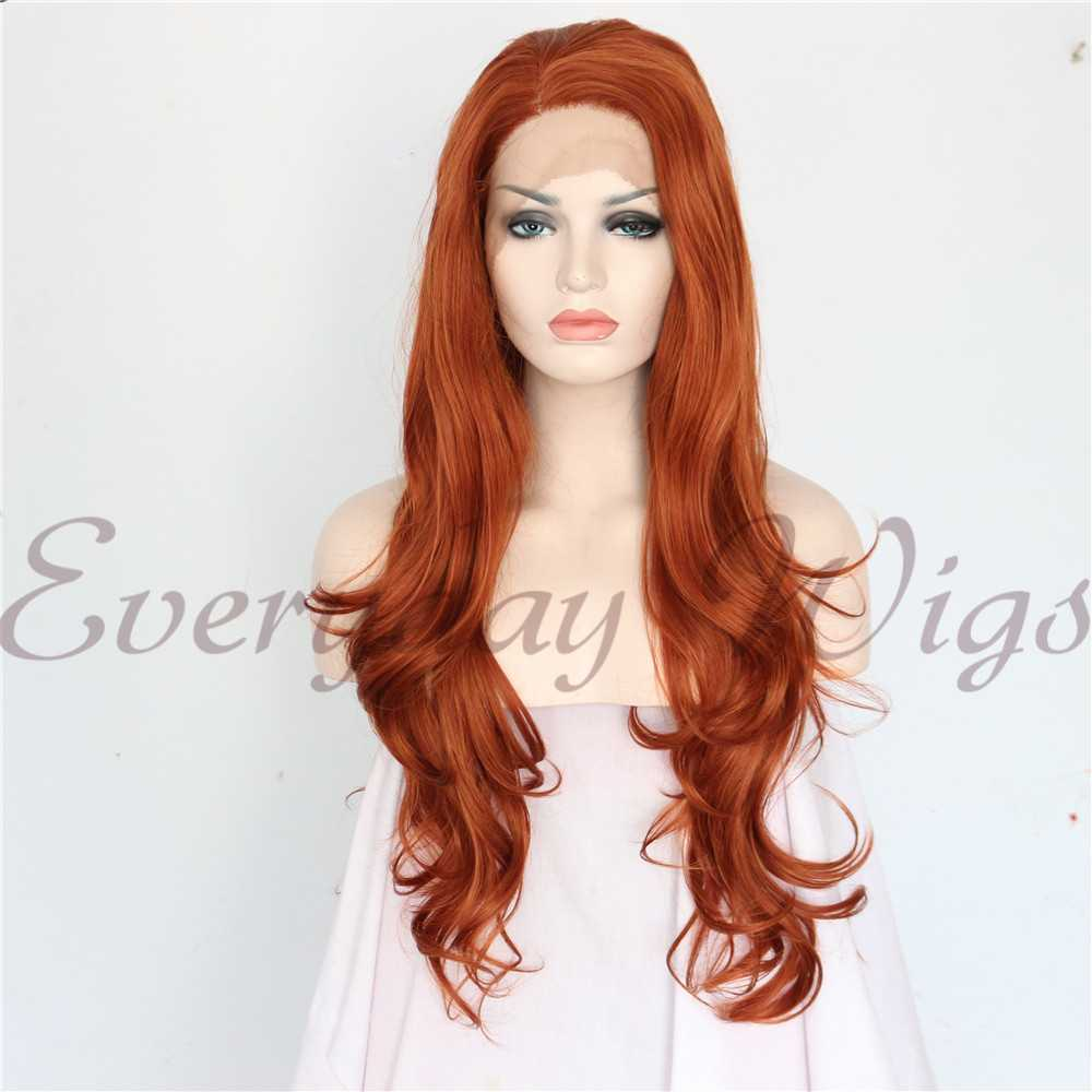 "24"" Auburn Long Wavy Synthetic Lace Front Wig-edw1101"