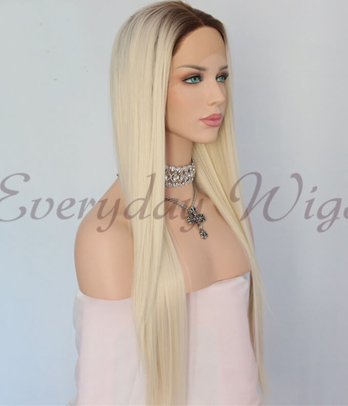 "14"" Ombre Grey wavy Synthetic Lace Front Wig-edw1102"