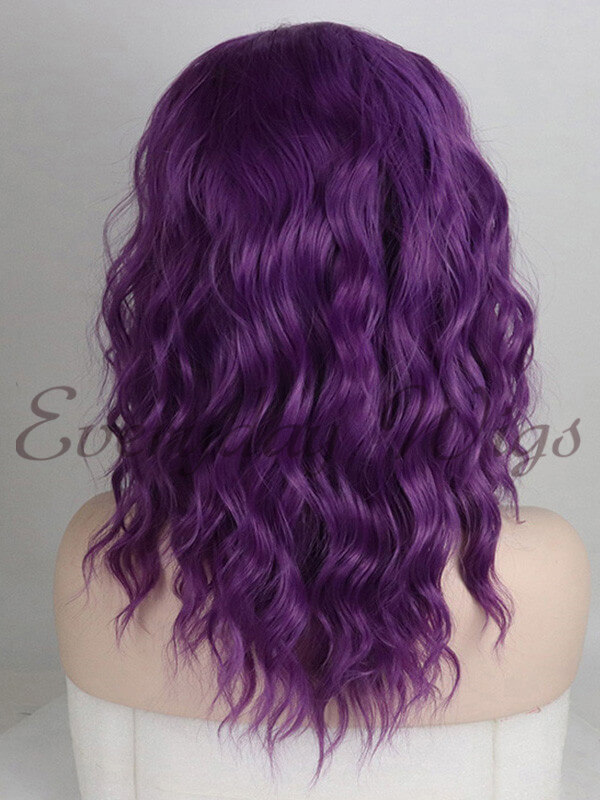 "14"" short Purple Wavy Synthetic Lace Front Wig-edw1103"