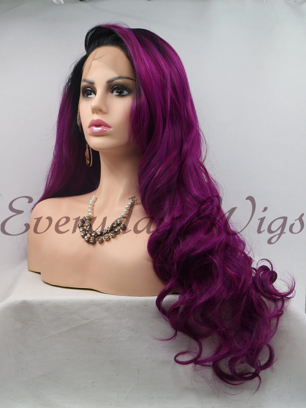 "26"" Ombre White Long Straight Synthetic Lace Front Wig-edw1104"