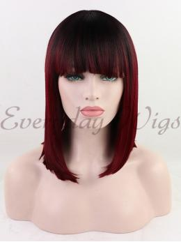 "14"" Ombre Red Synthetic Lace Front Wig with bangs-edw1105"