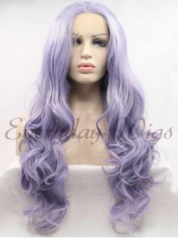 "24"" Light Purple Wavy Synthetic Lace Front Wig - edw1106"