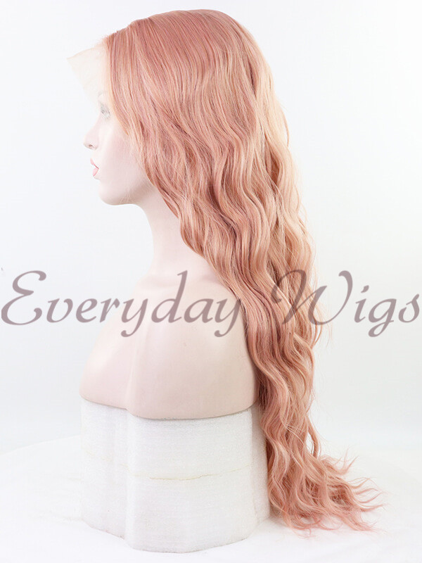 "24"" Long Pink Wavy Synthetic Lace Front Wig-edw1107"
