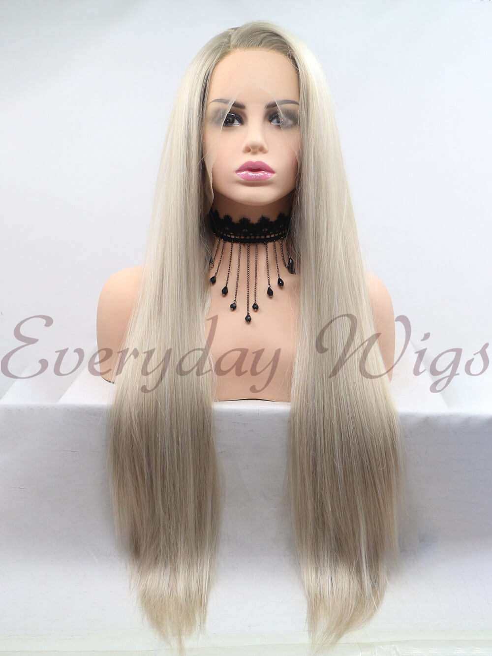 "26"" Black/Grey Ombre Color wave Synthetic Lace Front Wig-edw1108"