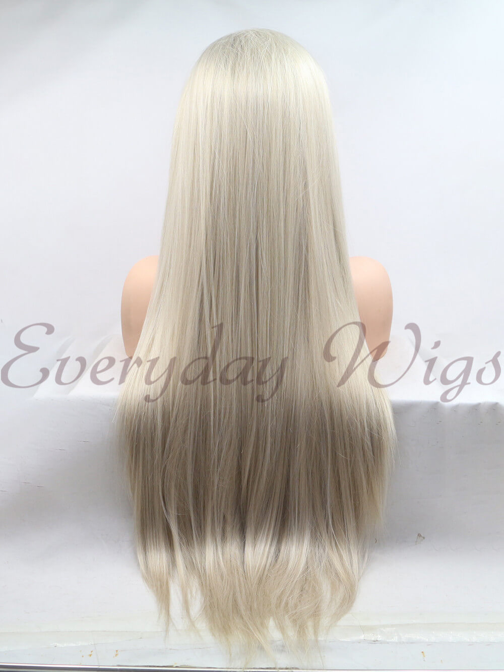 "26"" Long Platinum Blonde Synthetic Lace Front Wig-edw1108"