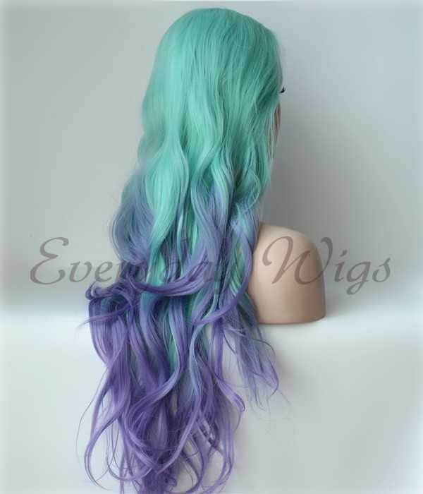 "26"" Green/Lavender Loose Wave Ombre Color Synthetic Lace Front Wig-edw1109"
