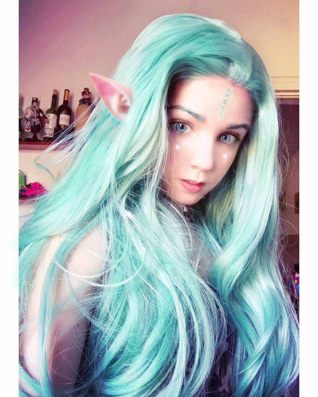 "26"" Green/Lavender Wave Ombre Synthetic Lace Front Wig-edw1109"