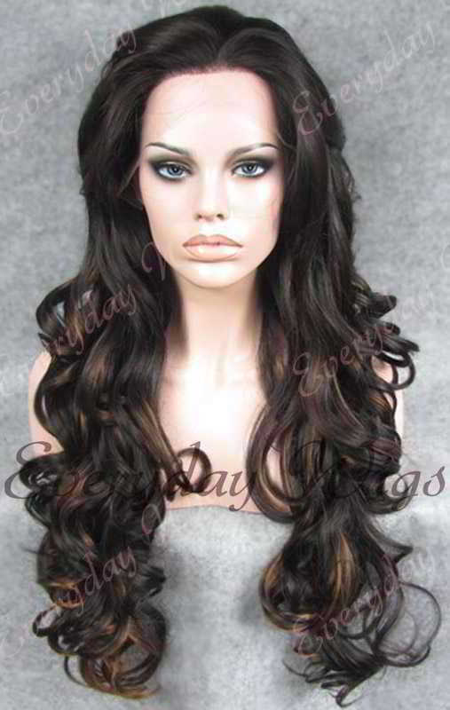 "24"" #1B Highlight #4 Long Wavy Synthetic Lace Front Wig - edw111"