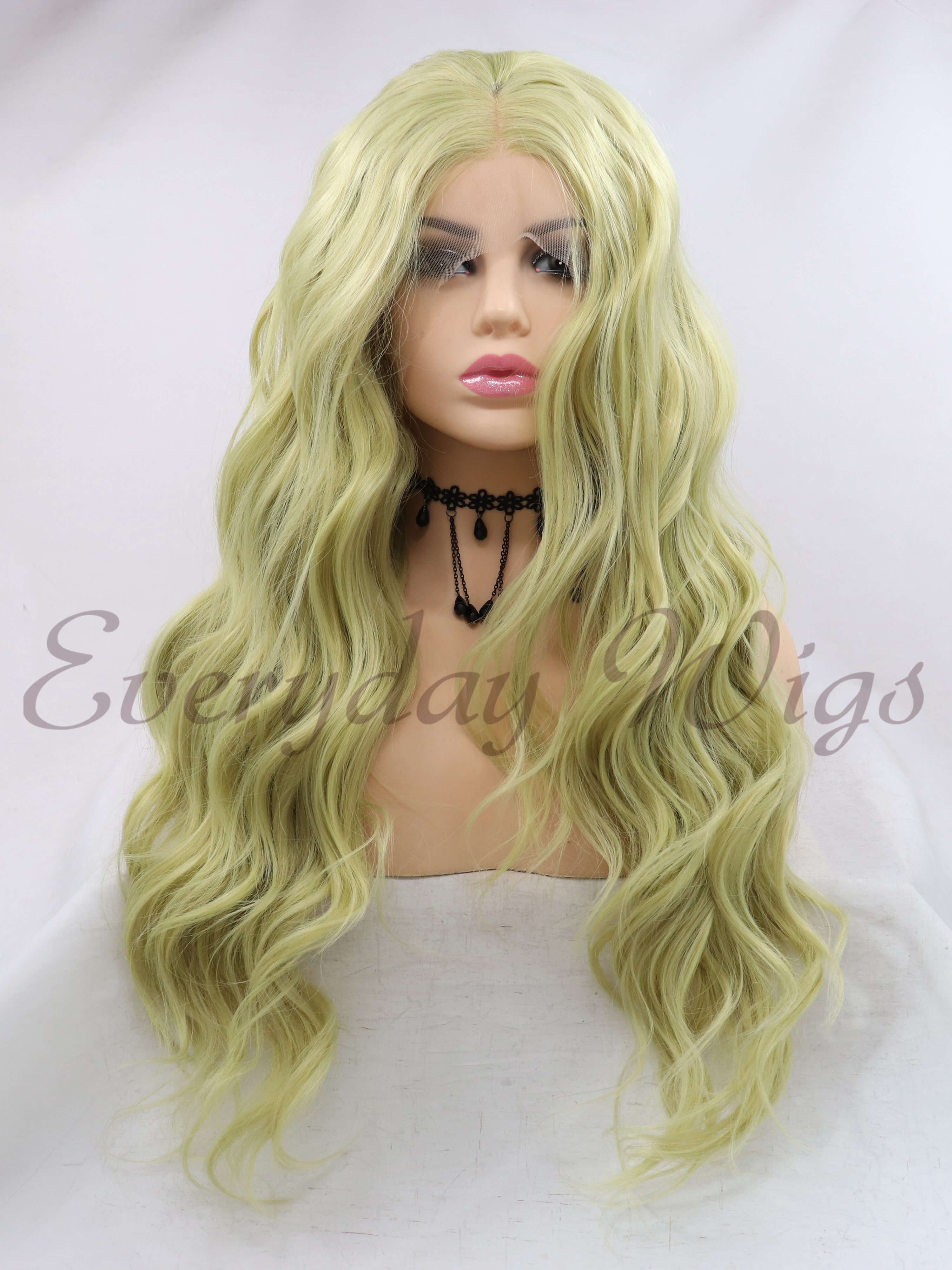 "24"" Green Wavy synthetic Lace Front Wigs-edw1110"