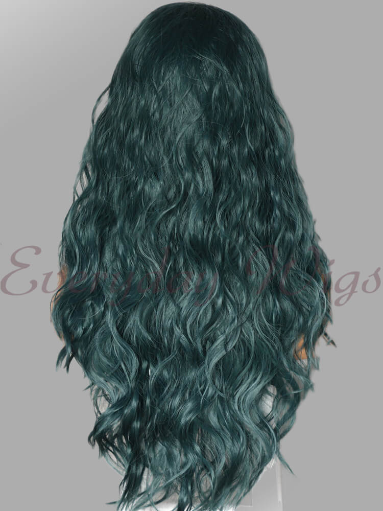 "24"" Dark Green Wavy Synthetic Lace Front Wig - edw1112"