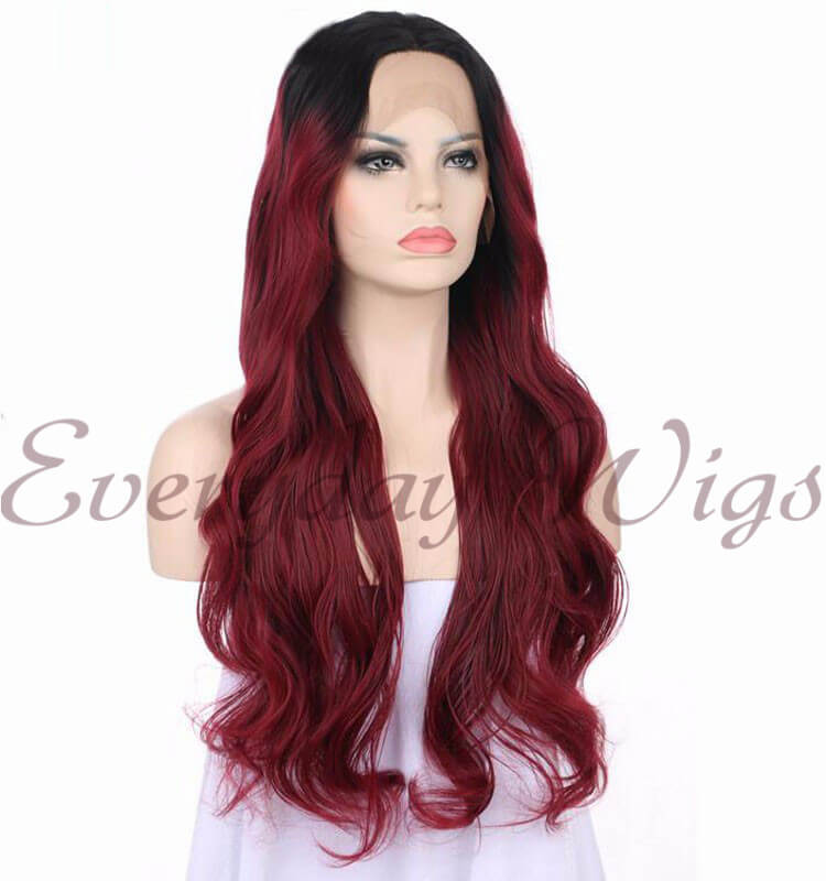 "26 "" ombre Red Wavy Synthetic front lace Wigs- edw1114"