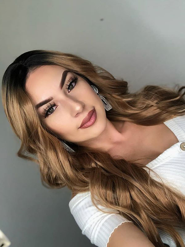 "24"" Ombre Brown Synthetic Lace Front Wig - edw1115"