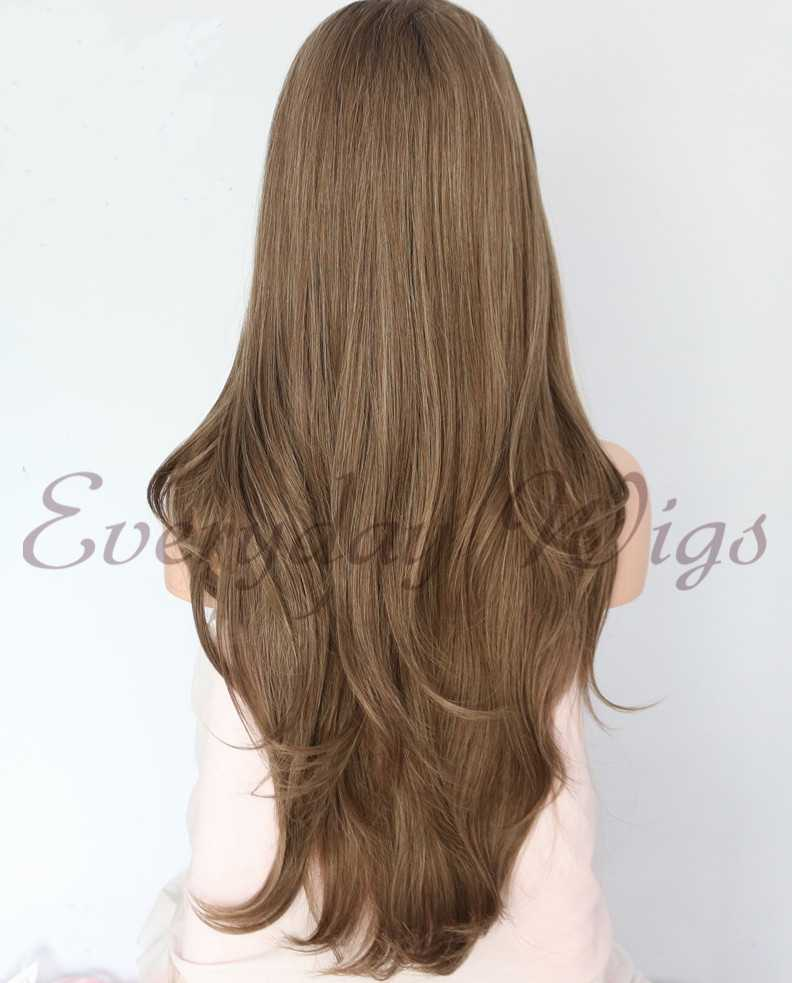 "24"" Ombre Long Wavy Synthetic Lace Front Wig - edw1116"