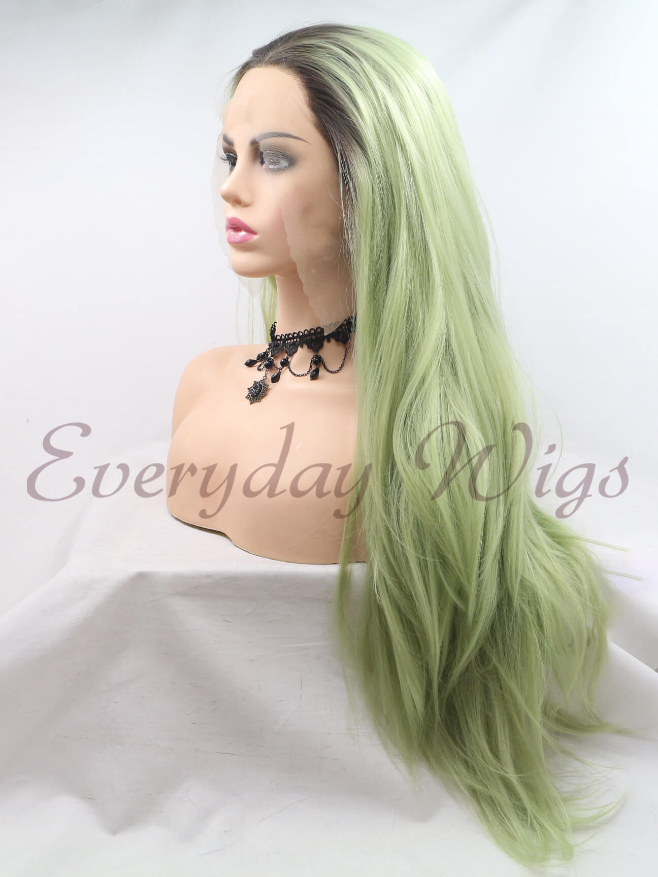 "24"" Ombre Green Synthetic Lace Front Wig- edw1117"