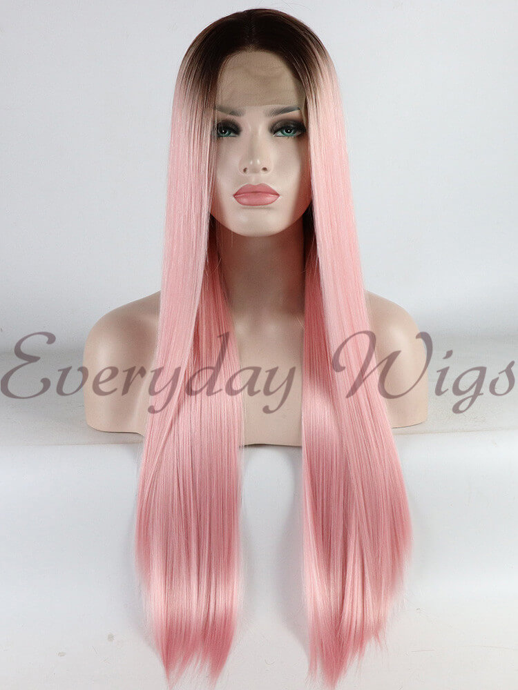 "24"" Long Wavy Blue Synthetic Lace Front Wigs - edw1118"