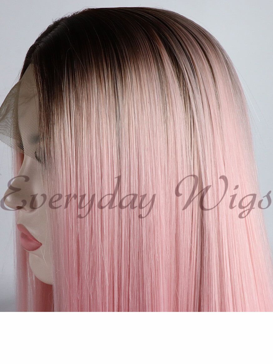 Ombre Brown to Pink Synthetic Lace Front Wigs - edw1118