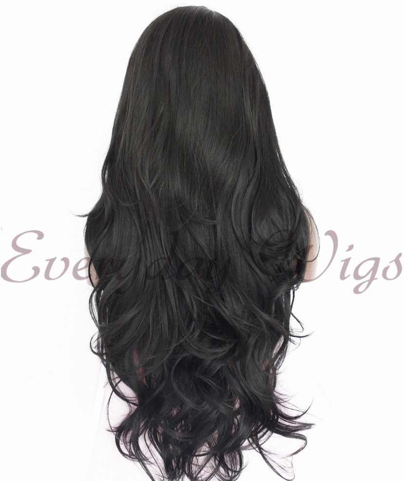 "26"" Black Long Wavy Synthetic Lace Front Wig - edw1119"