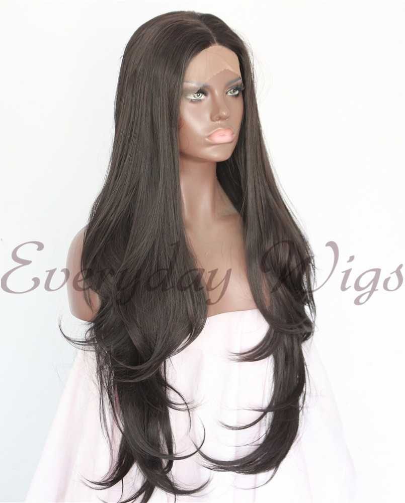 "24"" Brown Long Wavy Synthetic Lace Front Wigs - edw1120"