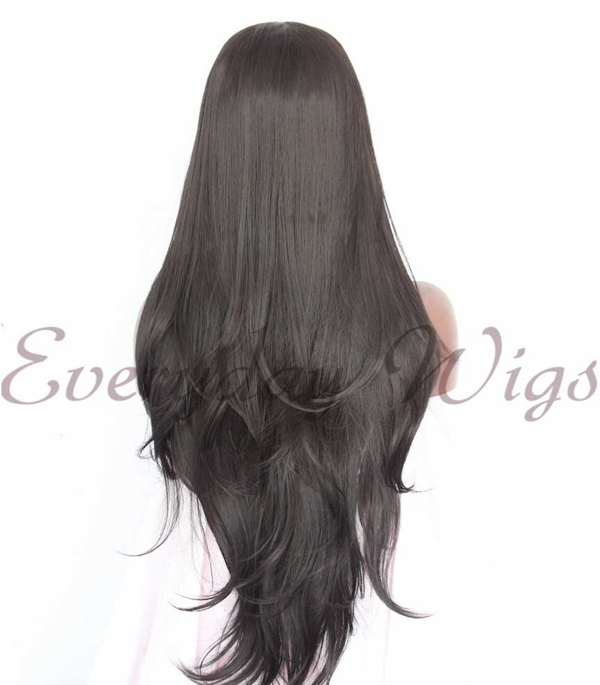 "24"" Brown Long Wavy Synthetic Lace Front Wig - edw1120"