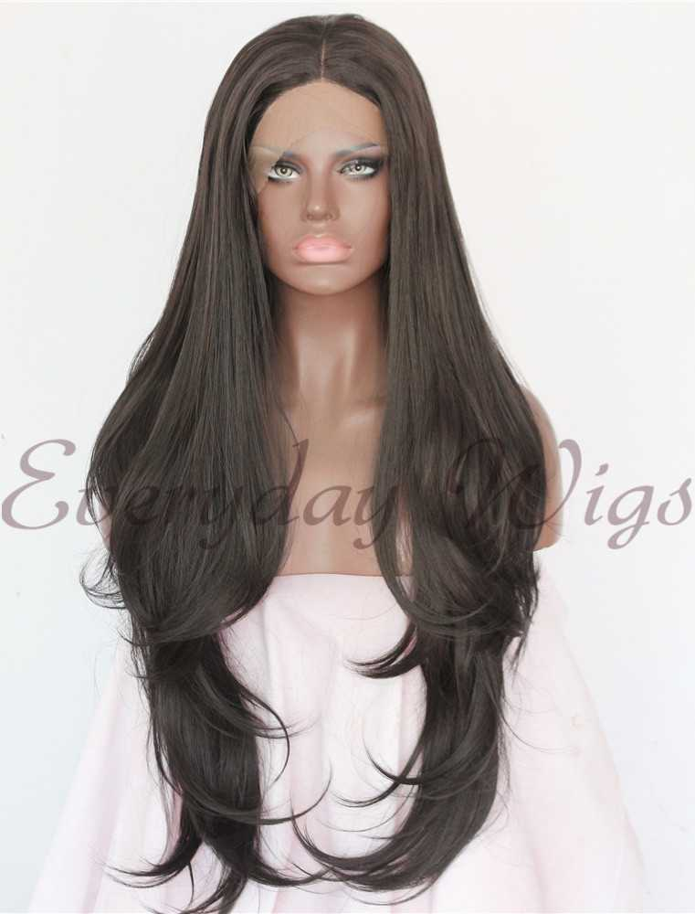 "24"" Dark Brown Long Wavy Synthetic Lace Front Wigs - edw1120"