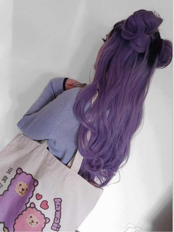 "24"" Ombre purple Wavy Synthetic Lace Front Wig - edw1121"