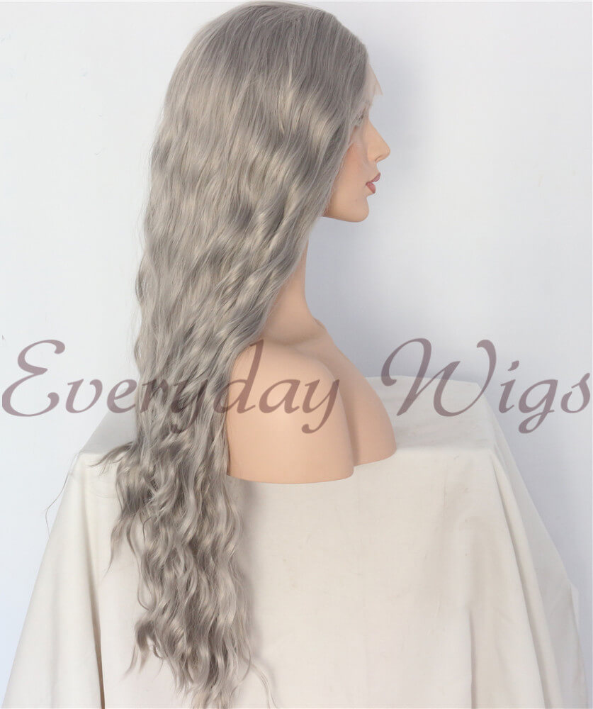 "24"" Grey Slight Wavy Synthetic Front Lace Wigs - edw1122"