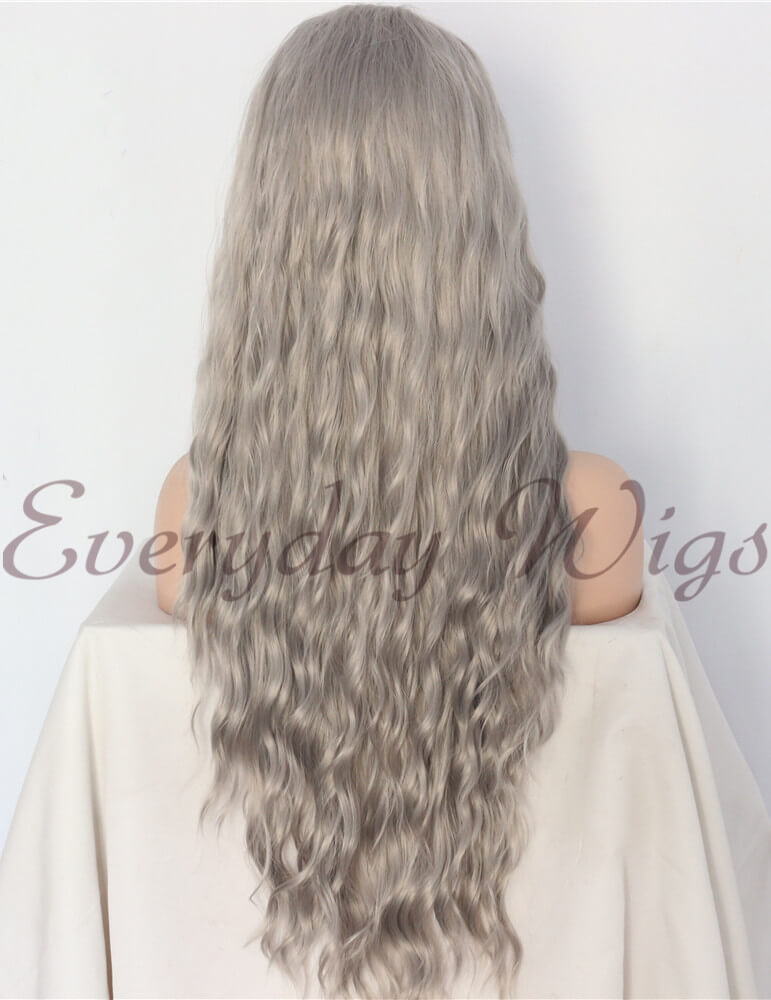 "24"" Dark Gray Wavy Synthetic Lace Front Wig - edw1122"