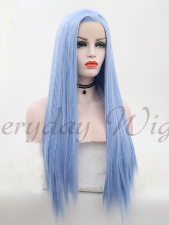 "24"" Long Blue Straight Synthetic Lace Front Wig- edw1123"