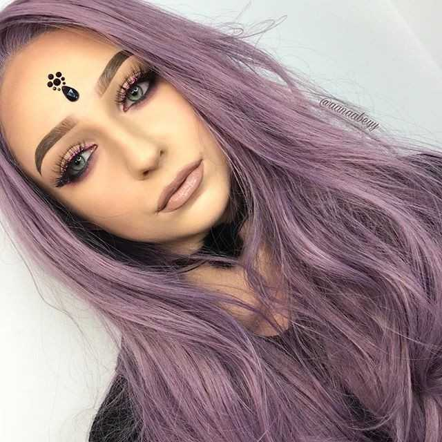 "24"" Purple Wavy Synthetic Lace Front Wig - edw1124"