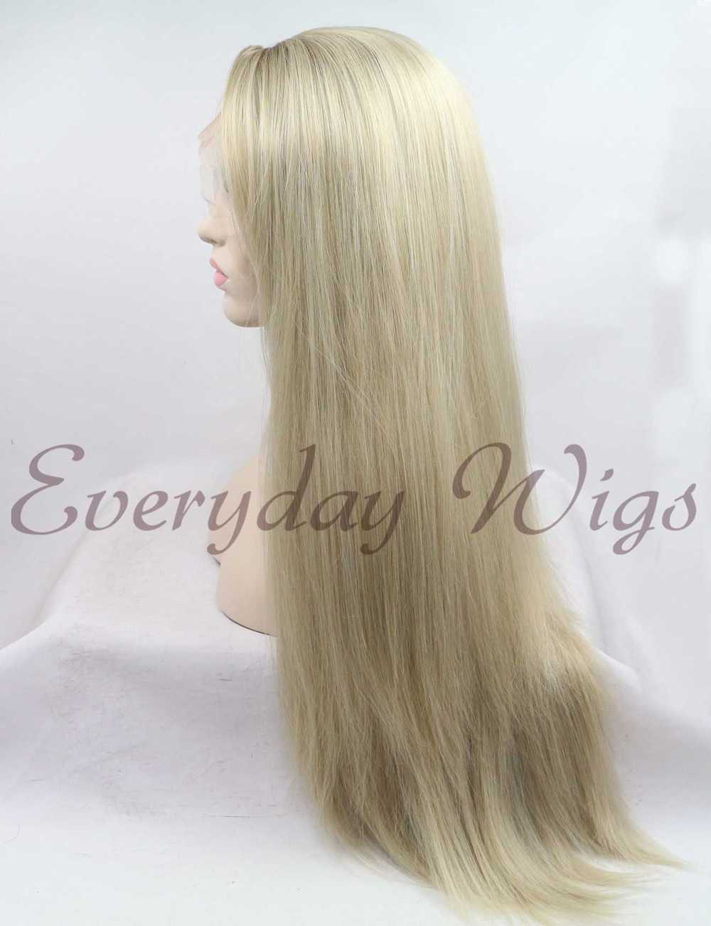 "26"" Long Blonde Straight Synthetic Lace Front Wig - edw1126"