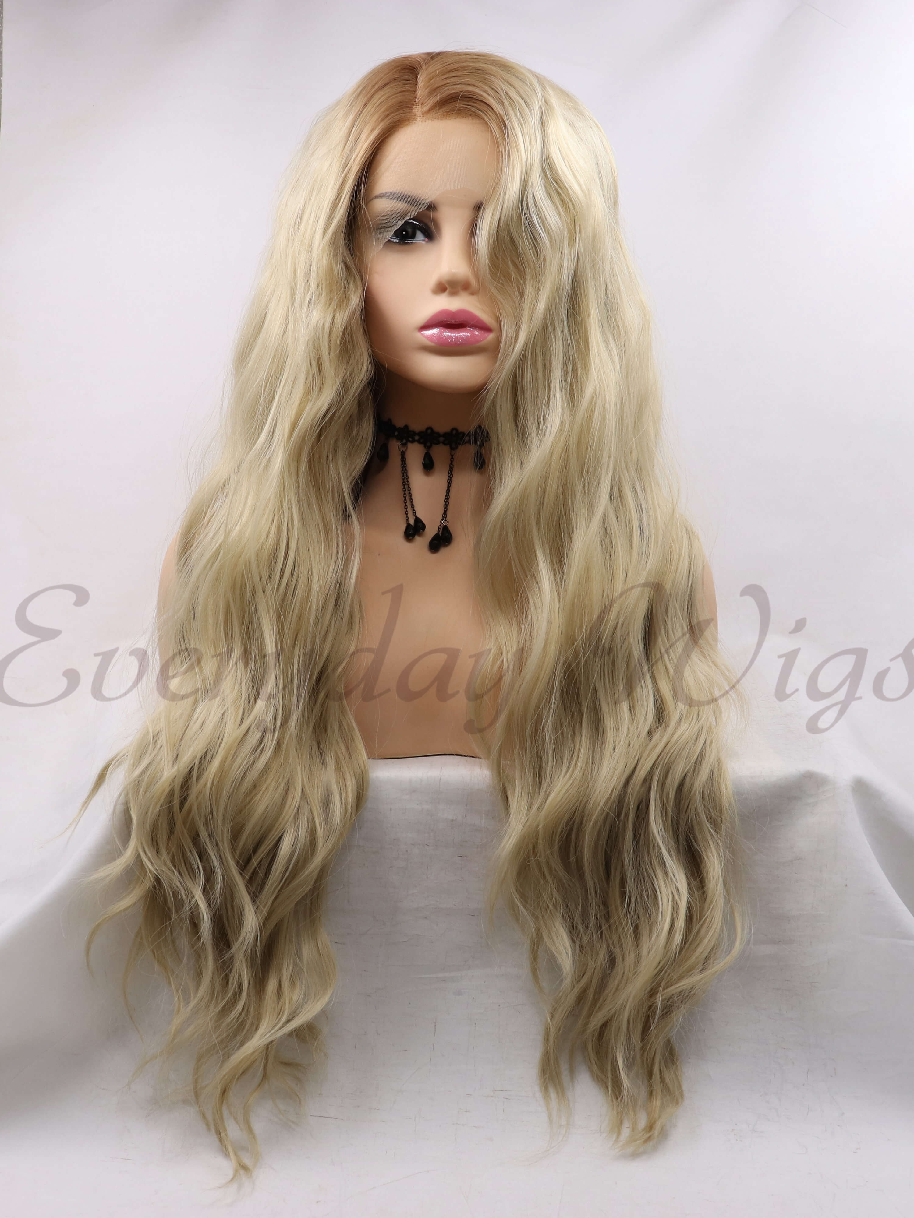 "24"" Blonde light wavy Synthetic Lace Front Wig - edw1127"