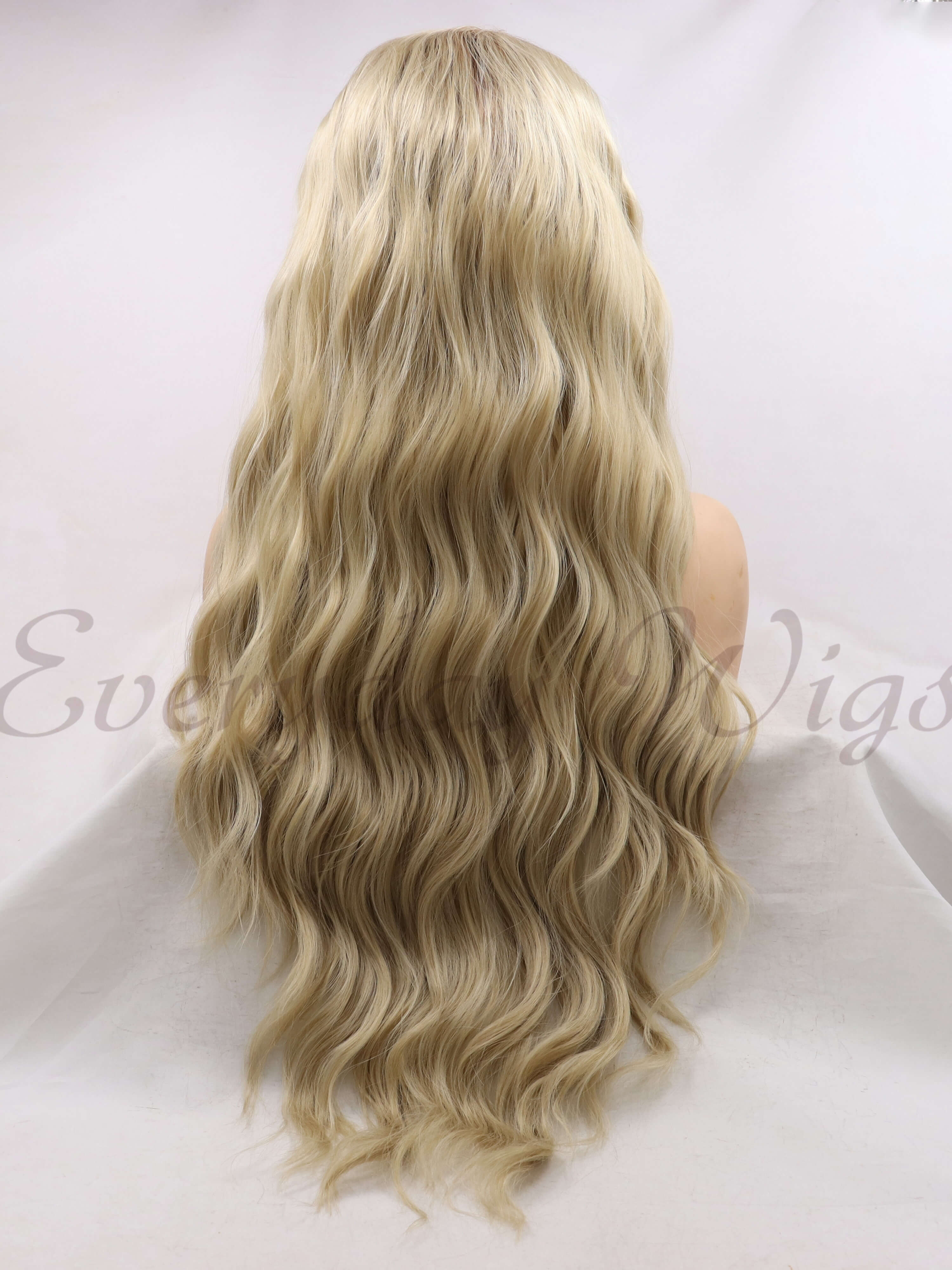 "24"" Ombre Blonde Wavy Synthetic Lace Front Wig - edw1127"
