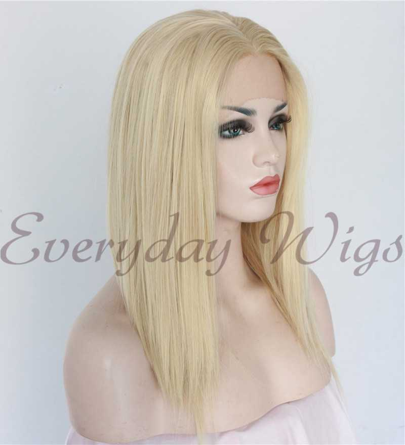 "24"" Light Blonde short Synthetic Lace Front Wig - edw1128"
