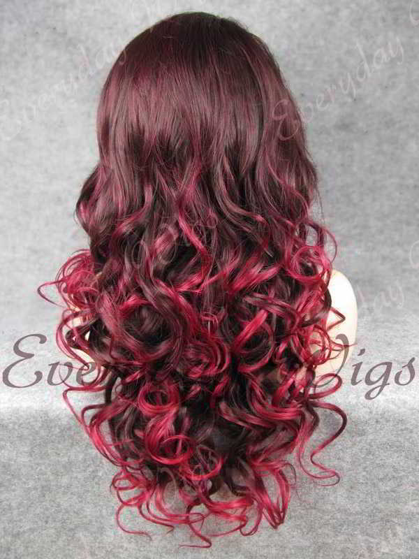 "24"" Highlight Color Long Wavy Synthetic Lace Front Wig - edw112"