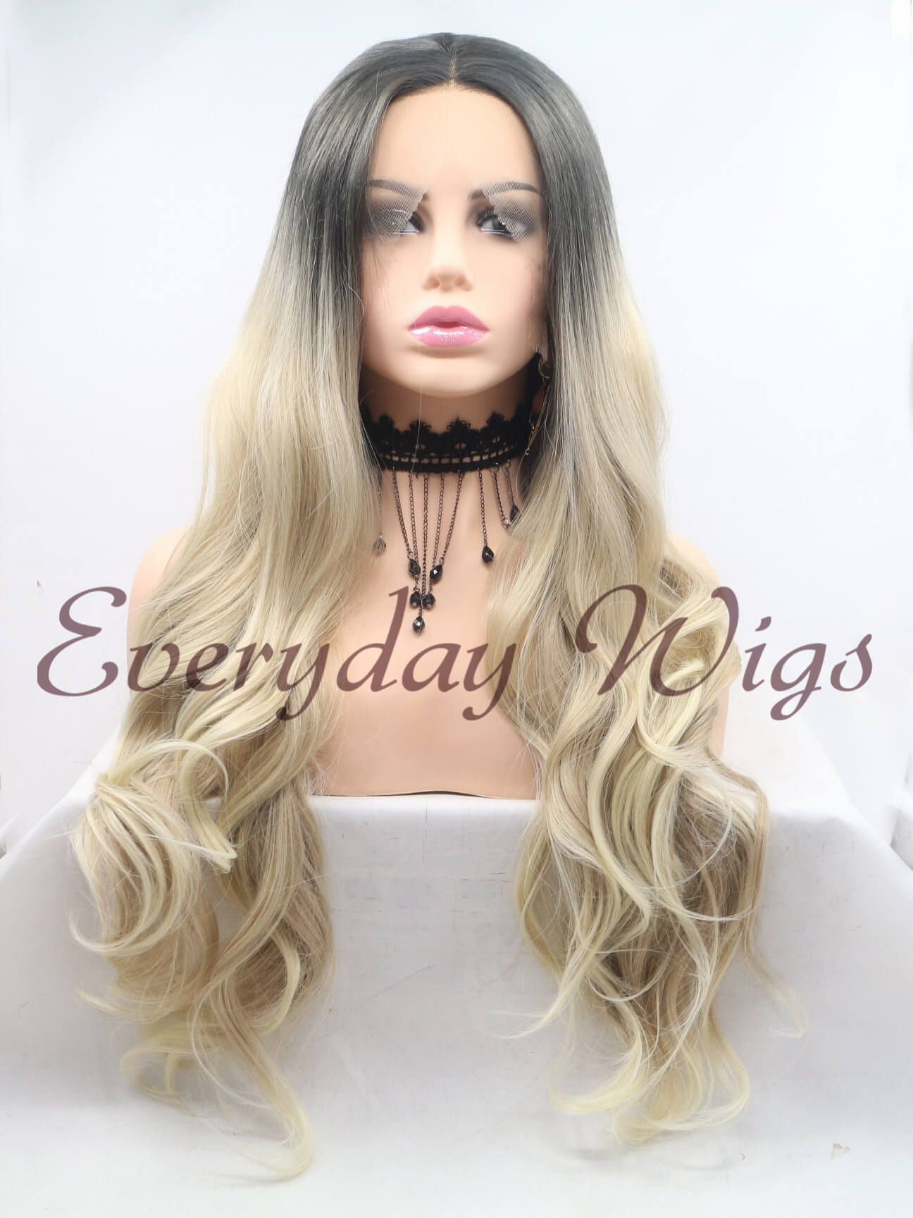 "26"" Ombre Blonde Wavy Synthetic Front Lace Wigs - edw1130"